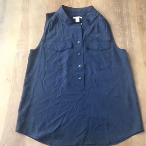 Navy J. Crew silk blouse